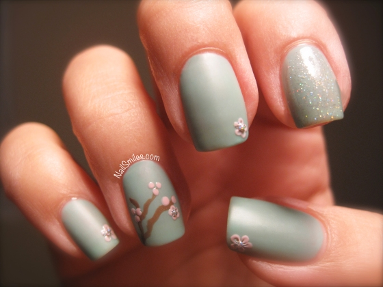 Sakura Cherry Blossom Nails with Matte Green Base