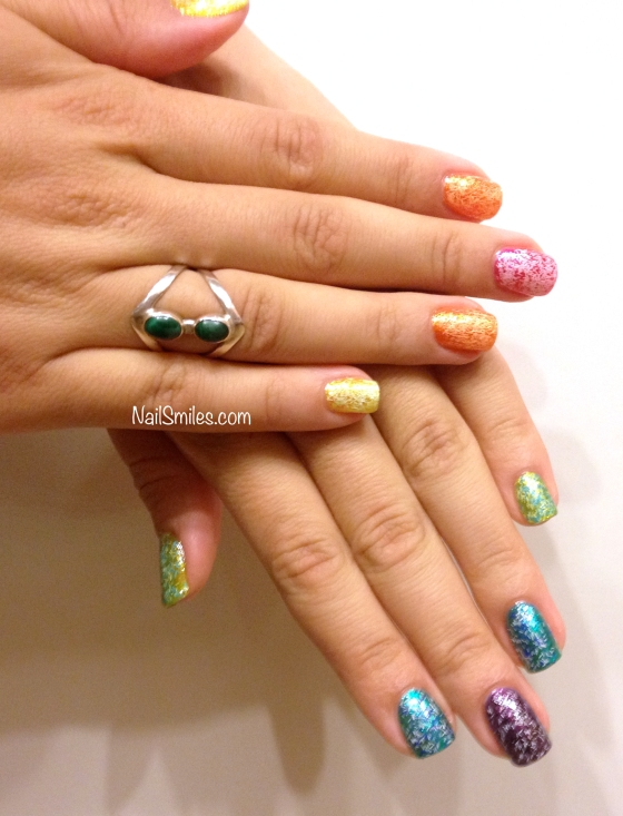 Fuzzy Rainbow Nails