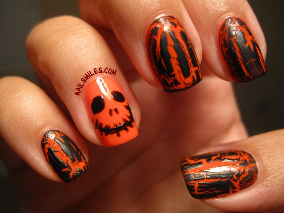 Welcome October!  Early Halloween Inspiration Black and Orange Mani