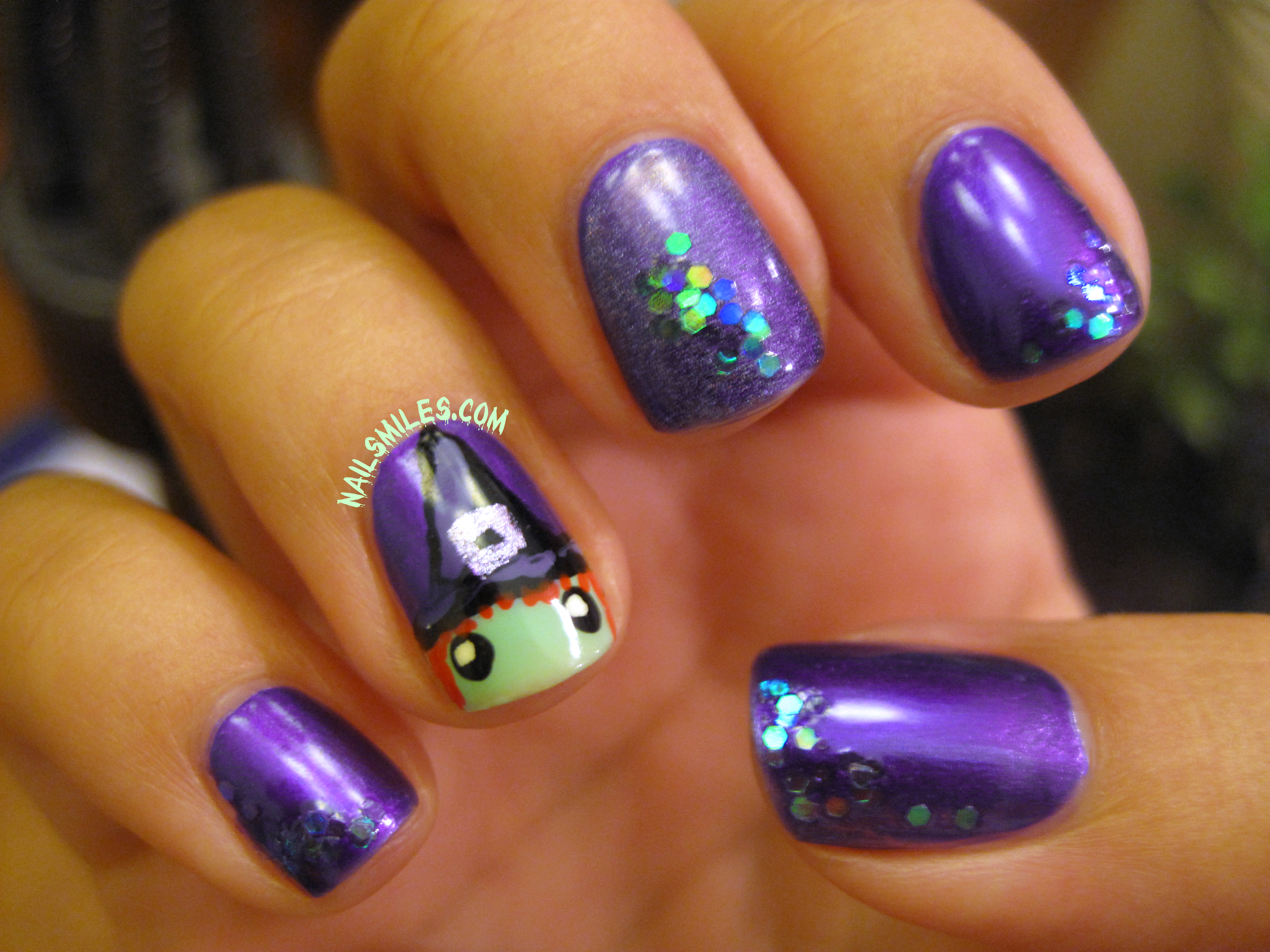 Boil Boil Toil and Trouble Ultra Purple Witch Nails | Nail ...